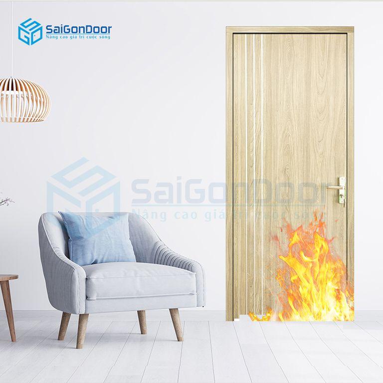 Cửa gỗ phòng ngủ ngăn cháy MDF Laminate P1R2 23029