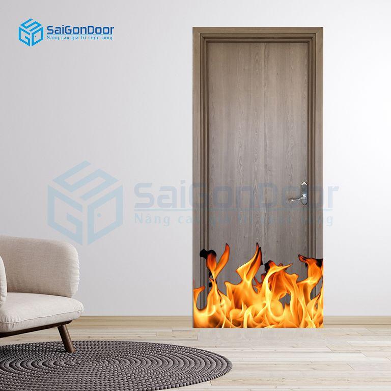 Cửa gỗ phòng khách chống cháy MDF Melamine P1