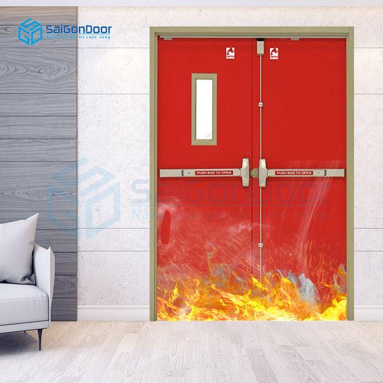 Cửa ngăn cháy dùng thanh thoát hiểm cho nhà xưởng